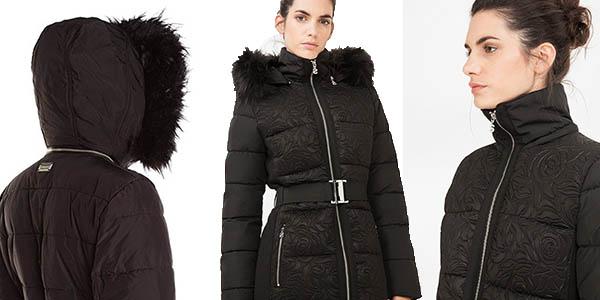 abrigo acolchado desigual vigo negro