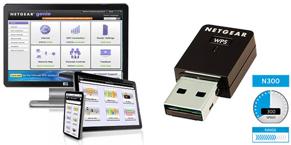 Mini-Adaptador WiFi USB Netgear WNA3100M-100PES N300