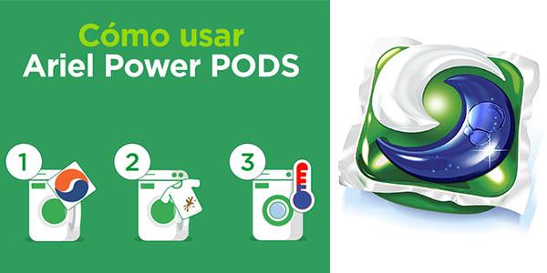 detergente lavadora Ariel 3 en 1 PODS quitamanchas iluminador colores