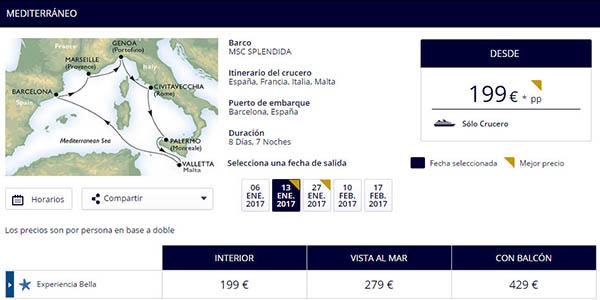 MSC Splendida crucero 8 dias mediterraneo tarifa azul