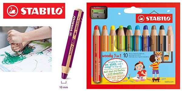 Stabilo Woody estuche 10 lápices colores multifunción sacapuntas barato