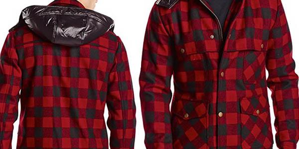 abrigo afelpado Jack & Jones cuadros capucha extraible