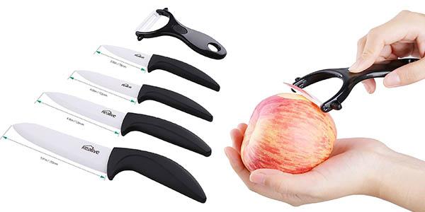 conjunto cuchillos cocina hoja cerámica