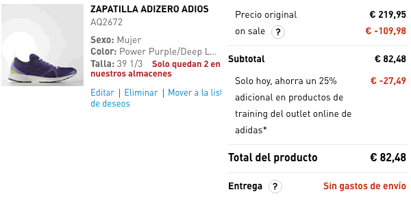 Ofertas Adidas descuento febrero 2017