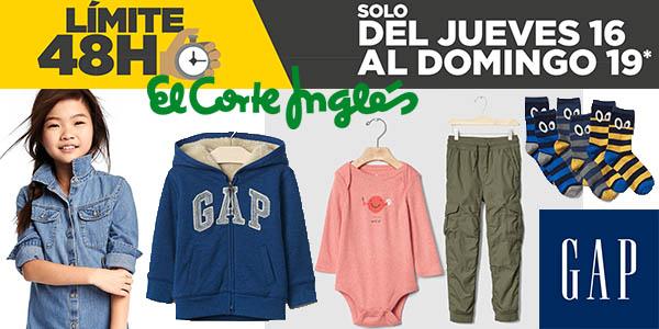 descuentos ropa infantil GAP límite 48 horas El Corte Inglés 16 febrero 2017