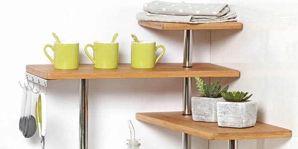 estantería almacenaje para aprovechar rincones cocina o baño