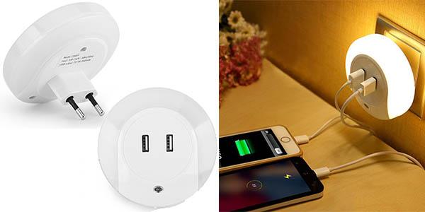 lámpara luz nocturna LED enchufe 2 puertos USB barata
