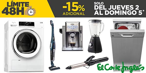 Límite 48 horas electrodomésticos baratos El Corte Inglés febrero 2017