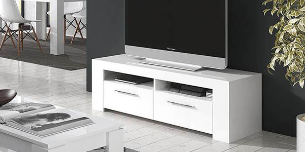 mueble tv diseño moderno blanco lacado funcional