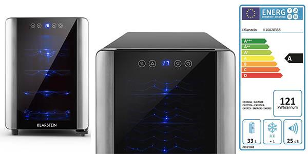 nevera Klarstein vino capacidad 33 litros diseño moderno puerta cristal
