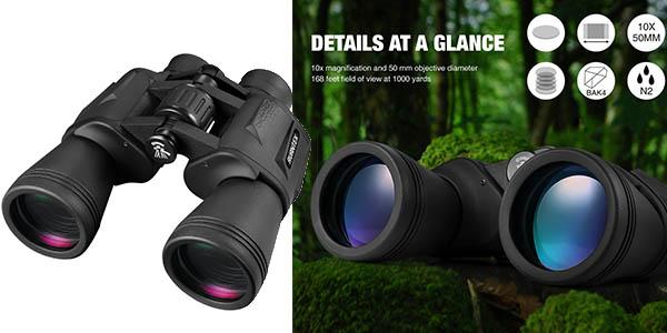 prismáticos Avantek 10x 50mm diámetro lentes plegables baratos