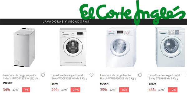 promoción lavadoras secadoras rebajadas El Corte Inglés febrero 2017