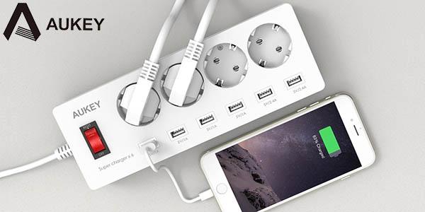 Base de 4 enchufes + 6 USB Aukey