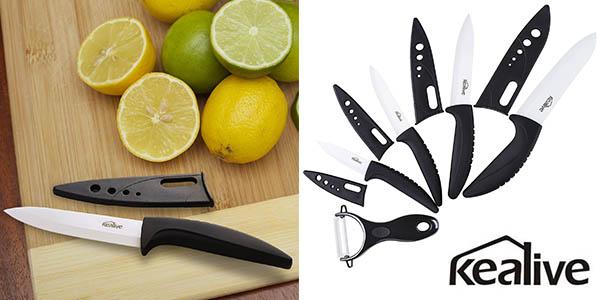 set 4 cuchillos cerámica y pelador Kealive baratos
