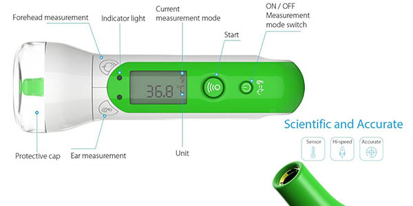 termómetro digital idóneo bebés temperatura frente memoria bluetooth