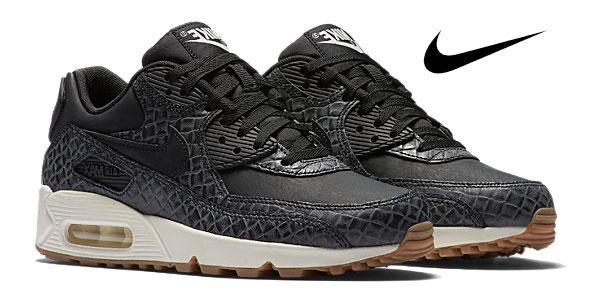 Zapatillas para mujer Nike Air Max 90 Premium en negro baratas