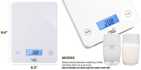 báscula digital GLS20 pantalla LCD medidas precisas