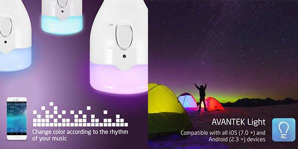 bombilla Avantek LED varias potencias colores regulable desde el móvil