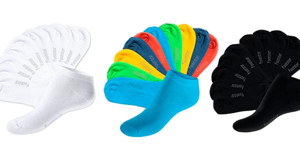 pack de 10 pares de calcetines tobilleros de colores rebajados en Amazon