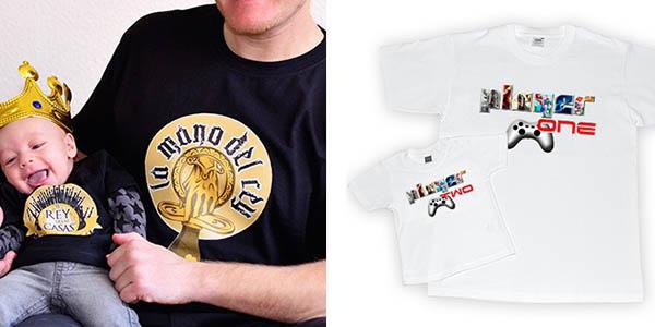 camisetas originales papá bebé algodón