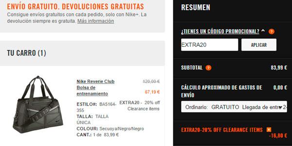 Código promocional EXTRA20 en la wen de Nike