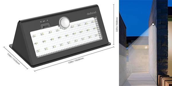 funcional lámpara solar exterior LED potente con doble sensor luz movimiento