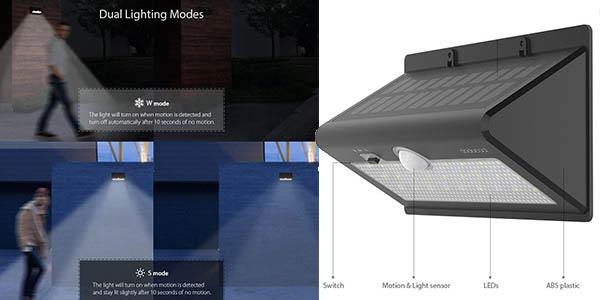 lámpara LED Dodocool sensor de movimiento exterior cupón descuento marzo 2017