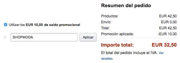 Cupón descuento Shopmoda Amazon