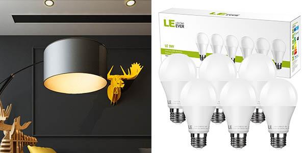 pack 6 bombillas LED E27 9W LE baratas