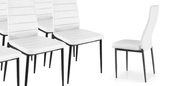 Pack de 6 sillas de comedor baratas Duehome en color blanco rebajdas eBay