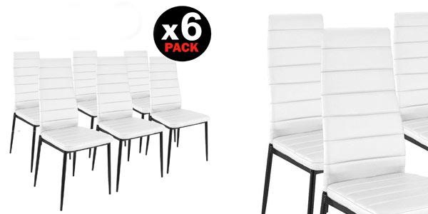 Pack de 6 sillas de comedor tapizado blanco baratas en eBay