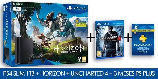 PS4 Slim 1TB + Horizon Zero Dawn + Uncharted 4 + 90 días de PS Plus