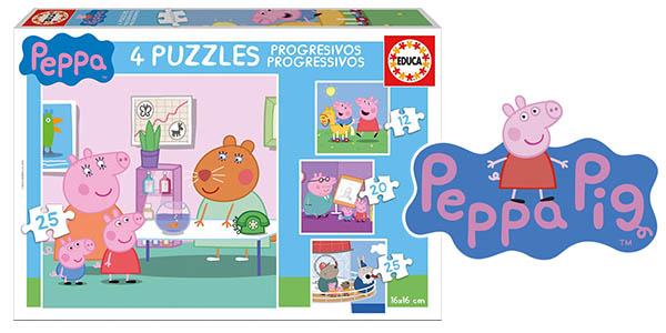 Peppa Pig 4 puzles progresivos infantil barato