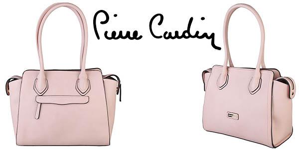 pierre cardin bolso cuero sintético elegante rosa barato