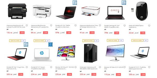 Portátiles, ordenadores y periféricos HP baratos