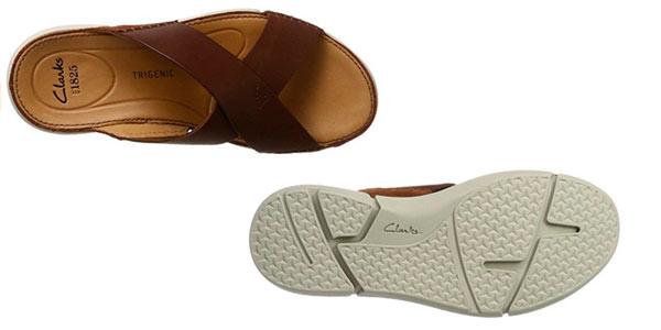 Sandalias marca Clarks para hombre Trisand Cross cuero marrón baratas en Amazon