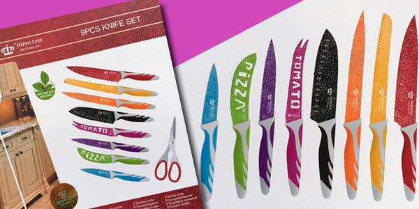 Set de 8 cuchillos y tijeras de acero Inox de cerámica diseño stone