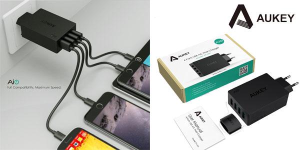 Cargador USB 4 puertos Aukey barato en Amazon España