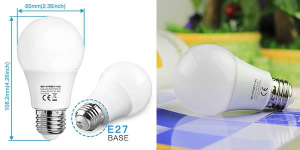 bombillas LED casquillo grande blanco cálido precio brutal