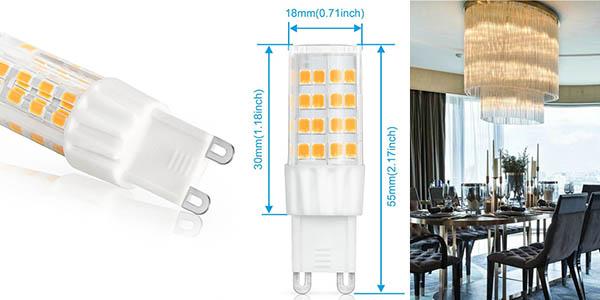 bombillas LED G9 equivalentes 45 vatios halógenas