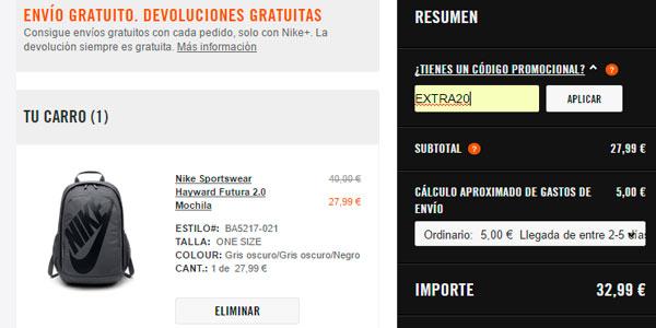 Cupón descuento EXTRA20 en la web de Nike