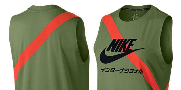 Camiseta de tirantes para mujer Nike International verde palmera barata en Nike Store