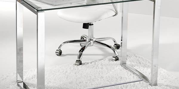 mesa estudio trabajo sobre cristal diseño elegante gran relación calidad-precio
