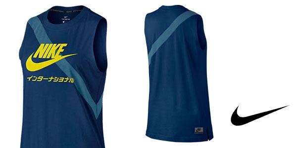 Camiseta de tirantes para mujer Nike International azul binario barata en Nike Store