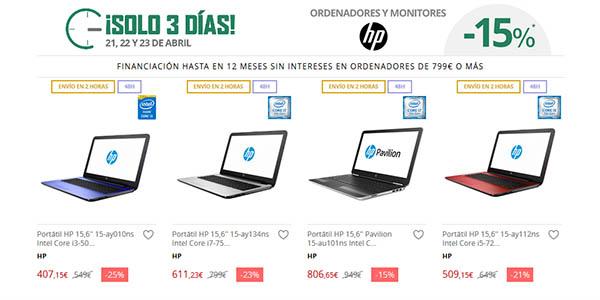 Promoción ofertas HP en El Corte Inglés