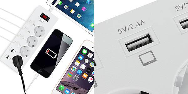 Regleta con 6 puertos USB 2,4A y 1A