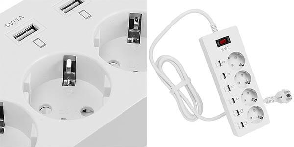 Regleta KYG con enchufes y USB barata