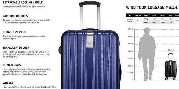 trolley windtook cómodo ligero y resistente con candado TSA