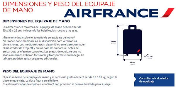 AirFrance medidas de equipaje de mano