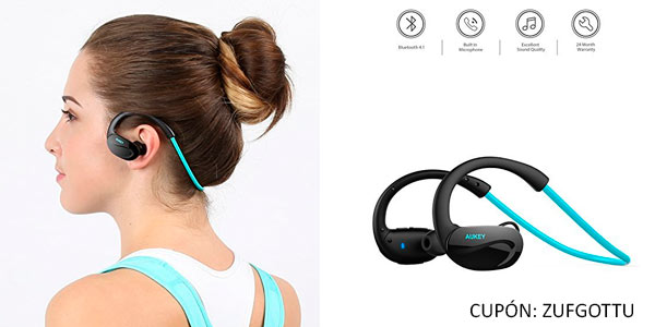 Auriculares deportivos Bluetootj Aukey baratos con manos libres con cupón de descuento